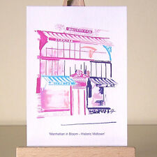 PINK New York City Manhattan Disegno Midtown ARCHITETTURA Cityscape ACEO Arte