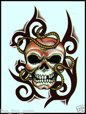 LOT OF 5 TEMPORARY TATTOO SEXY EVIL TRIBAL MEXICAN SUGAR SKULL FOR HALLOWEEN