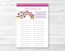 Girl Owl Blossom Pink & Purple Baby Shower Baby ABCs Game Printable