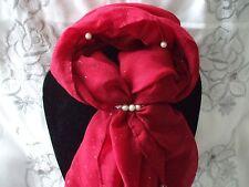 Bufanda + Pañuelo Anillo Conjunto de Regalo Rojo con Cuentas de Perlas con anillo de perla Crema En Bolsa De Regalo