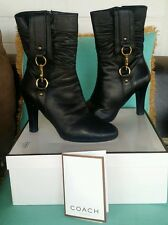 "COACH LEATHER TORREE TEXT MID BLACK BOOTS 4"" SIZE 8.5 SHOES HEELS ZIPPER SIDE"