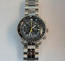 Seiko Pre Owned SNA411 Chronograph Alarm Black Dial Stainless Steel Mens Watch