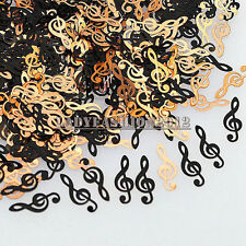 Cute Brone Black Music Notes Shape Metal Nail Art Sequins Decals Phone Stickers
