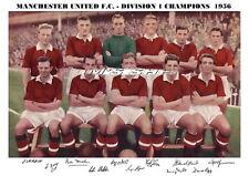 MANCHESTER UNITED TEAM PRINT 1956 - LEAGUE CHAMPIONS