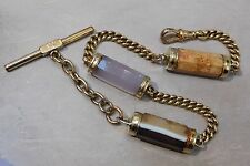 ANTIQUE FACETED AGATE & GOLD FILLED CURB LINK POCKET WATCH FOB CHAIN #397L