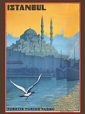 Istanbul Turkey Turkish Turkive Vintage Travel Advertisement Art Poster
