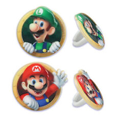 12 Super Mario Bros Luigi Cupcake Rings Toppers Cake Decorations Party Favors
