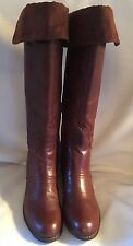 New Nine West Noriko Brown Leather Tall Boots Suede Cuff sz 11 M