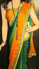 KC Saree Latest Bollywood Shaded Yellow & Green Designer BorderSari on Discount