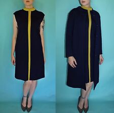 Vtg 60s Navy Chartreuse MOD wool STRiPE space age DRESS Coat 2pc OUTFIT Set