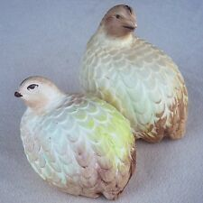 VTG Quail Bird Partridge Grouse Figurines Statue Ceramic Pottery 1963 Pair Two