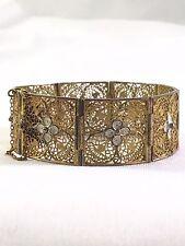 Antique Vintage Victorian Sterling 800 Silver Filigree Floral Panel Bracelet!