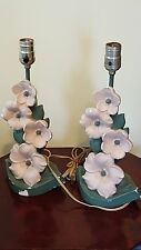 """Vintage Mid Century F.A.I.P. Chalkware Floral Flowers Table Lamps 14"""""""