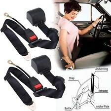 2Set Adjustable Black Retractable Car Seat Belt Lap Belt 3Point Safety Universal