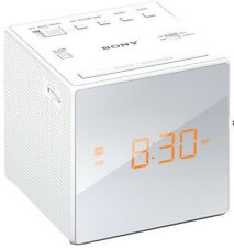 Sony AM FM Cube Alarm Clock Radio White Brightness Auto DST Time Gradual Wake