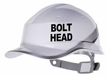 2X BOLT HEAD Hard Hat vinyl decal Warehouse sticker CHOOSE COLOUR & FONT