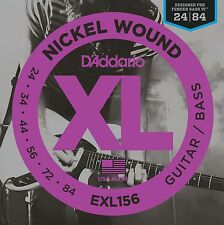 D'Addario Fender Bass VI Guitar Strings  Octave Below Ball End  EXL156