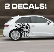 Tribal Skull Decal Profile Car Door Fender Vinyl Graphic Sticker(2 Decals)