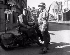1945 WW2 Cologne Germany 1st Army Military Police MP Motorcycle WWII Photo FL146