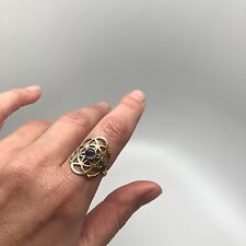 Seed of Life Ring in Brass with Amethyst Stone
