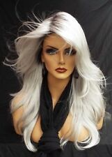 Lace Front Wig New Fashion Charm Elegant Women's Long Silver White Top Full wigs