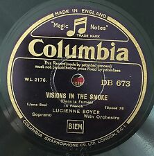 "RARE 78RPM 10"" LUCIENNE BOYER VISIONS IN THE SMOKE/SPEAK TO ME OF LOVE COLUMBIA"