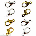 100Pcs 10-16mm Lobster Clasps Necklace Findings Fastener Gold/Silver Plated etc.