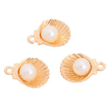 40x Bulk Wholesale Gold Plated Faux Pearls Seashell Alloy Pendants Lots Charms L