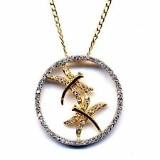 Dragonfly Open Circle CZ Two Tone Silver & Gold-Tone Necklace Pendant