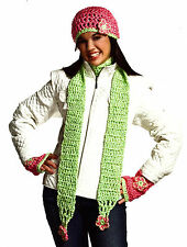 PRETTY Strawberries & Kiwi Hat Scarf Hand Warmers/ Crochet Pattern Instructions
