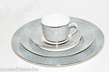 Royal Limoges Makassar 4-Piece Porcelain Tea Cup Plates Set, France, Grey/ Gold