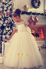 Age 2-14 Girls Party Bridesmaid Wedding Flower  girl Dress tutu dress lace-G