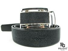 "PELGIO Real Genuine Stingray Skin Leather Men Belt 46"" Long All Black Free Ship"