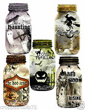 HALLOWEEN WITCH GHOST MASON JARS (78) SCRAPBOOK CARD EMBELLISHMENTS HANG TAGS