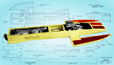 """Model Boat Plans 22 1/2"""" Twin engine Radio Control outrigger Racing Boat Plans"""