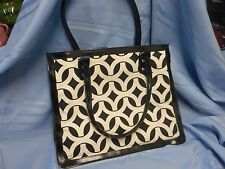 NWOT INITIALS INC BLACK WHITE LEATHER AND CANVAS HANDBAG PURSE TOTE SHOPPER