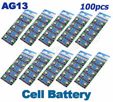 100 x AG13 LR44 SR44 L1154 357 A76 Alkaline batteries button cells watch camera
