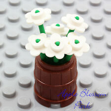 NEW Lego Friends Minifig FLOWER POT BARREL w/White Flowers & Green Plant Stems
