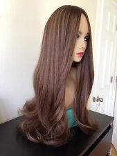 "25"" Brown Roots Ash Blonde Highlights Sheitel Highlighted Full Wig Human Hair"