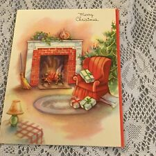 Vintage Greeting Card Christmas Chair Chimney Fireplace Home