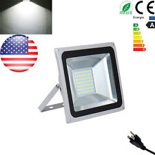 100W Day White LED Security Outdoor Garden Flood Light Lamp 110V With Plug
