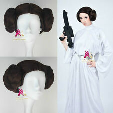 Star Wars Leia Organa REVENGE OF THE SITH Dark Brown Cosplay Party Wig Hair