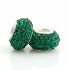 Genuine Sterling Silver 925 Core Sparkly Crystal Bead Charm - Emerald Green