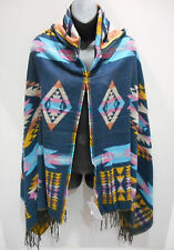 Hood Poncho Fit M L XL 1X 2X 3X Plus Hoodie Cloak Cape Blue Pink Plaid NWT DC659
