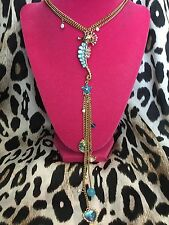 Betsey Johnson Sea Excursion Blue Seahorse Clam Nautical Long Necklace VERY RARE