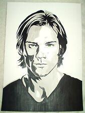 Paper Painting Jared Padalecki Supernatural B&W Art 16x12 inch Acrylic