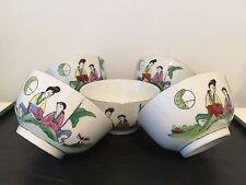 5 Bols Chinois / Asiatique En Porcelaine
