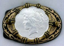 Gold Color Oval Western REAL 1922 Peace Silver Dollar Belt Buckle epbb85