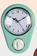 NEW RETRO STYLE KITCHEN WALL CLOCK WITH TIMER AQUA. GREENY BLUE OOTB