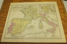 1846 Antique COLOR Mitchell Map // FRANCE, SPAIN, PORTUGAL, ITALY, GREECE